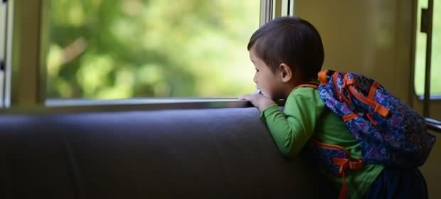 車窓から景色を眺める男の子